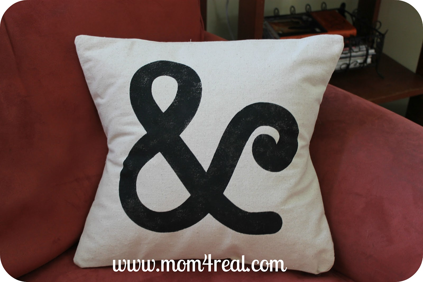 Ampersand Pillow and Freezer Paper Stencil Tutorial