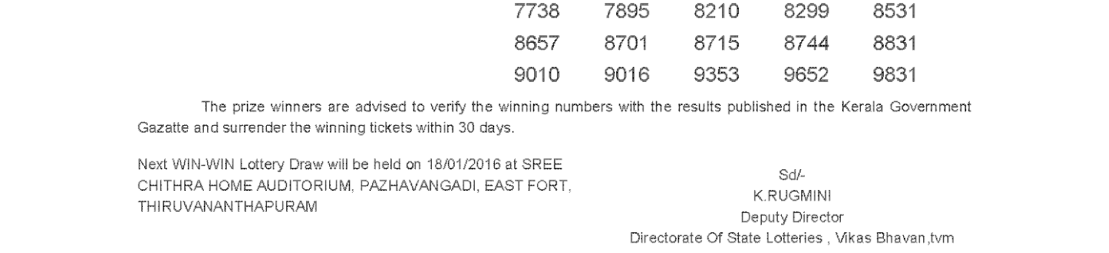 WIN WIN Lottery W 342 Result 11-01-2016