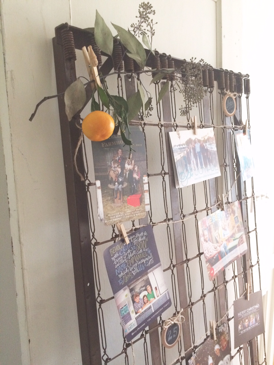 Little Farmstead: Vintage Mattress Spring Christmas Card Display
