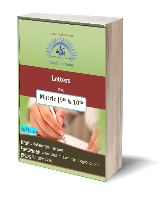 download complete book containing all letters for matric classes written above this is an e book that you will get free after entering your email