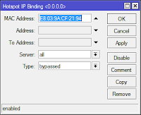 configure mac address ip bindings at mikrotik hotspot