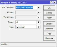 configure mac address ip bindings at mikrotik hotspot