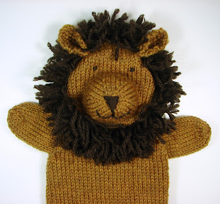 hand knit hand puppets toy animal lion