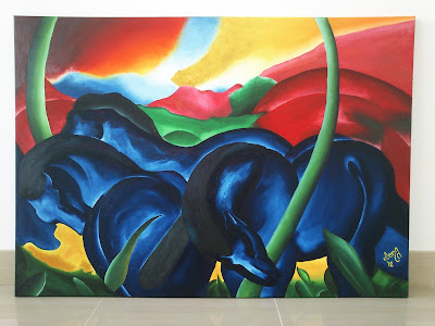 Caballos azules de Franz Marc. Cuadro expresionista.