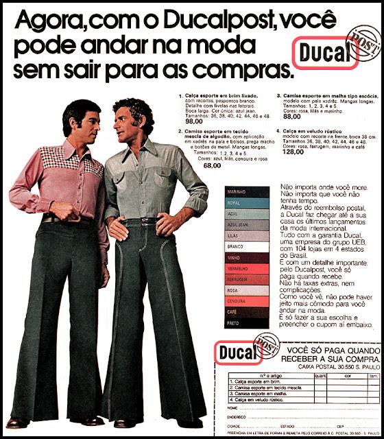 Propaganda das Calças Ducal (modelo boca de sino) com oportunidade de compra por remessa postal nos anos 70.