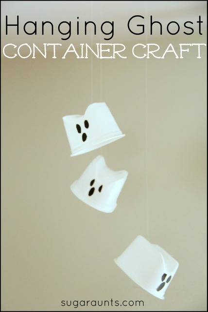 A Halloween hanging Ghost craft activity for kids using recycled containers.