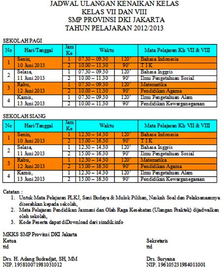 JADWAL UAS GENAP (UKK) SMP KELAS 7 & 8 TAHUN 2013/2014