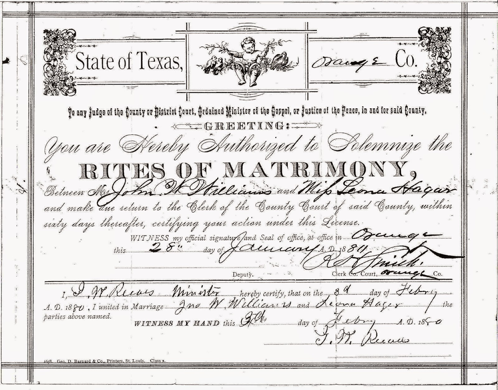 Burnett family genealogy december 2014 john william and leona hagar marriage certificate on file at orange county tx clerk of courts xflitez Images