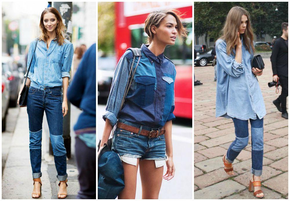 Αποτέλεσμα εικόνας για patchwork jean shirt street style