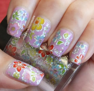 Essie Under Where? with flower pattern nail foil