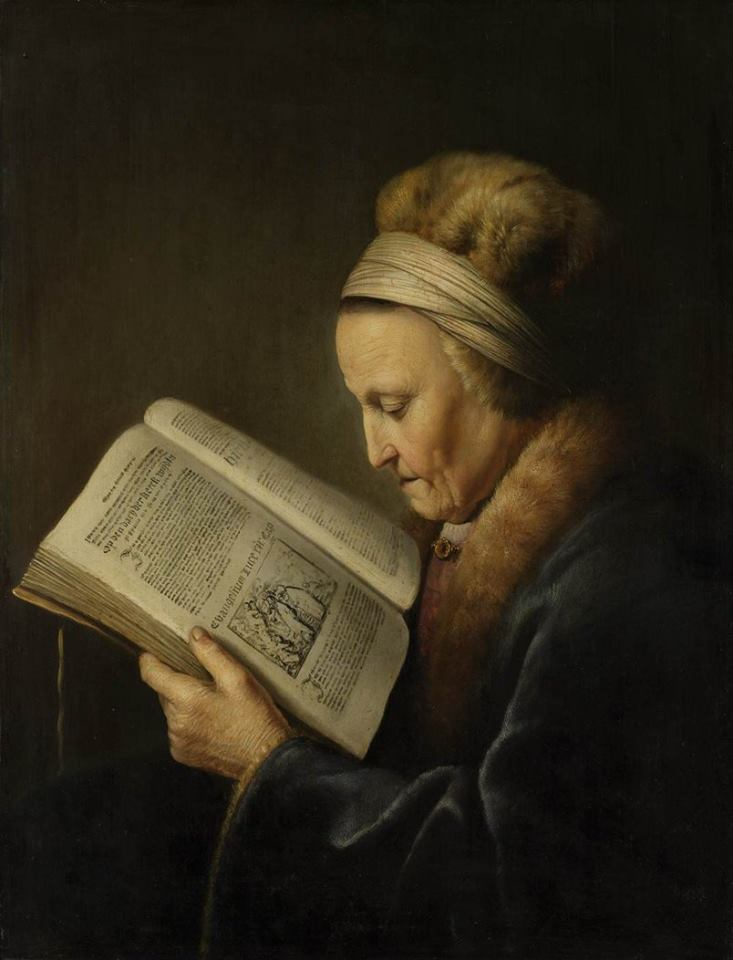 Gerrit Dou, Old Woman Reading a Bible,1630