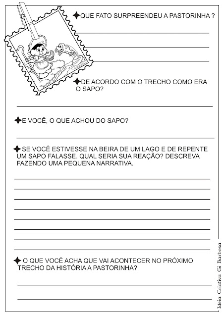 Atividade  Texto e Interpretação Contos de Fada A Pastorinha  - Página 3 e 4