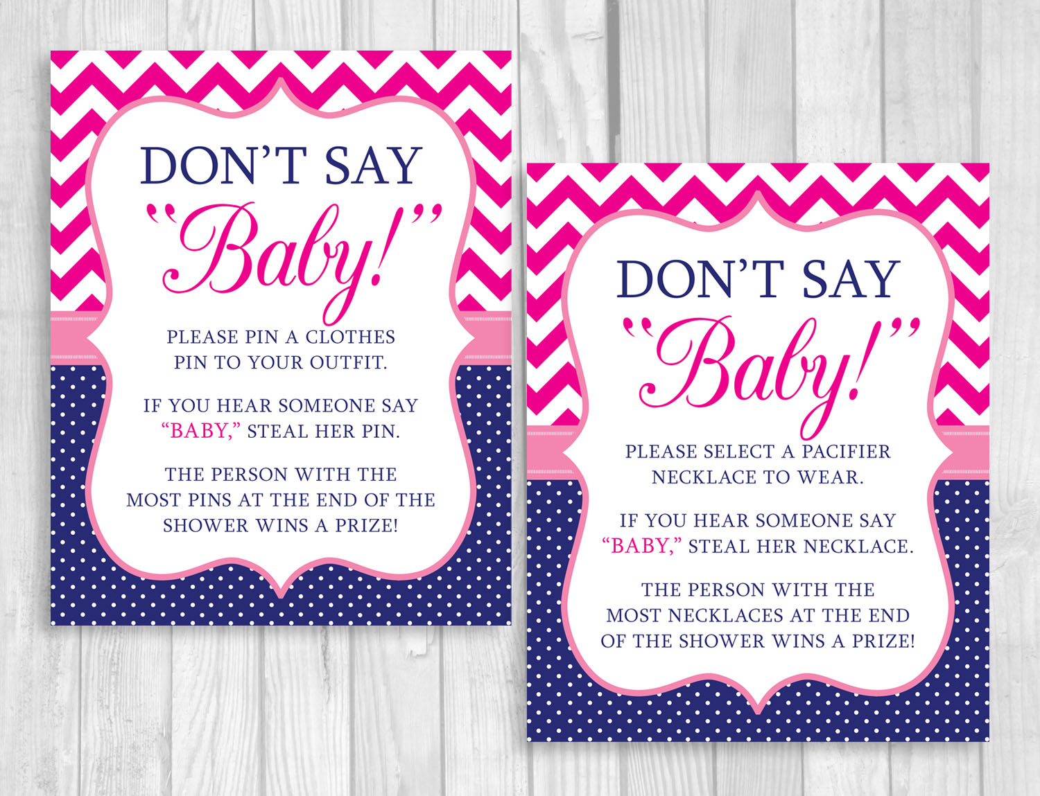 Printable Donu0027t Say Baby! 8x10 Clothes Pin Or Pacifier Necklace Baby Shower  Game Hot, Pink Chevron U0026 Navy Blue Polka Dots
