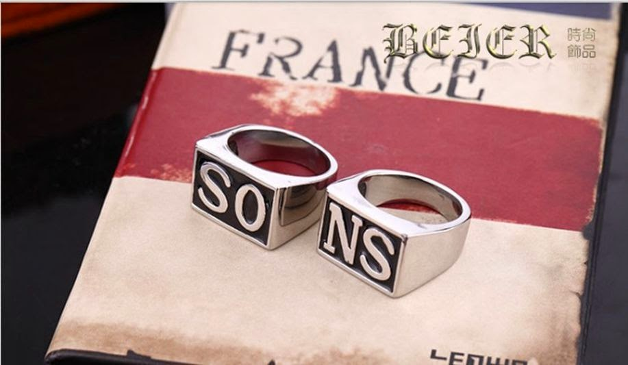"Retro men SONS fashion season RING 1 SET of 2 psc ""SONS"" Words gold silver"