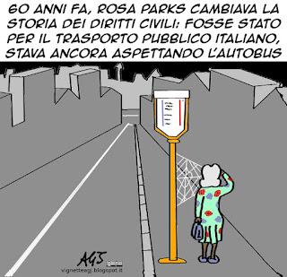 Rosa parks, diritti civili, trasporto pubblico, atac, atm, satira, vignetta