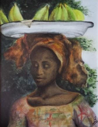 """Mauritana """"La Negra"""" Acuarela y Carboncillo 2008. 24X18cm"""