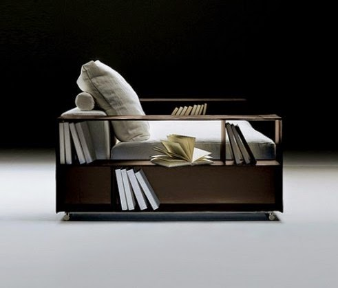 modern sofa with bookcase