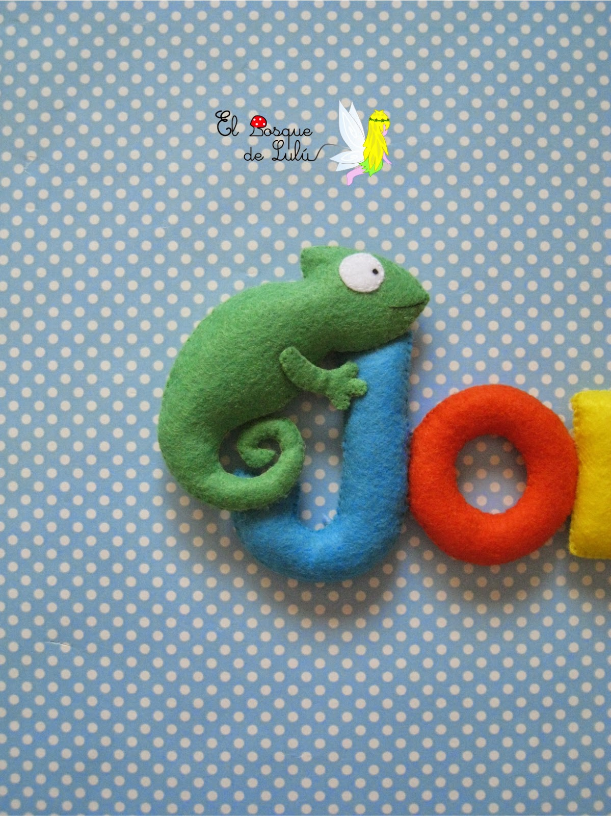 camaleon-fieltro-decoración-infantil-nombre-letrero