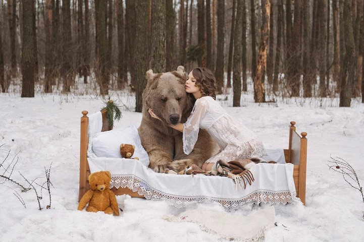 Russian model posing with real bear-2