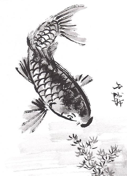 The helpful art teacher draw and paint koi carp using for Japanese koi fish artwork