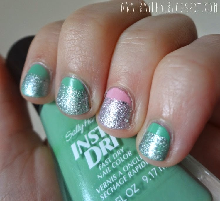 Sally Hansen Jade Jump with Silver Glitter, nails