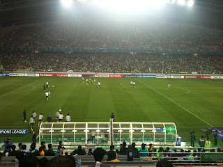 The teams warm up