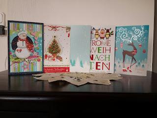 schöne, ausgefallene, bunte, glitzernde Weihnachtskarten