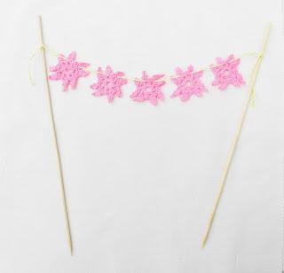 image doily cake bunting shabby chic raspberry pink pastel domum vindemia wedding birthday bridal