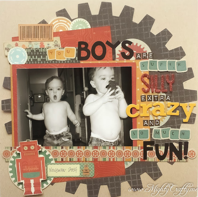 Silly Crazy Boys layout for Sketch 'N Scrap Inspired By Jan 2014 sketch -- www.mightycrafty.me