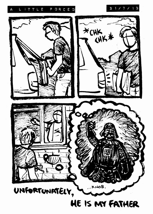 comic where alex's dad locks the car imagining he's using the force like darth vader