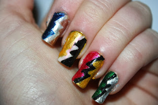 Harry Potter hogwarts house nail polish art