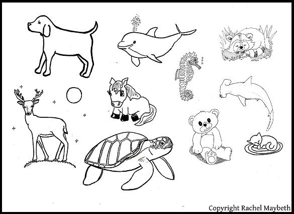 FREE Animal Clipart Black And White Coloring Pages For Scrapbooking