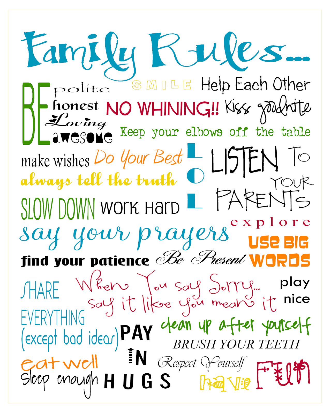 Effortless image within house rules for kids printable