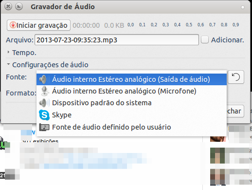 Gravador de Audio para Linux