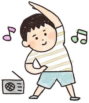 ラジオ体操のイラスト「夏休みの男の子」