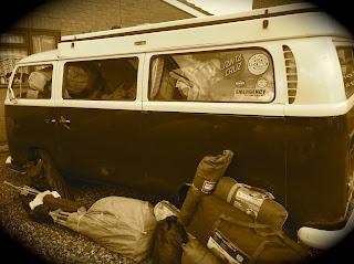 Packed camper van