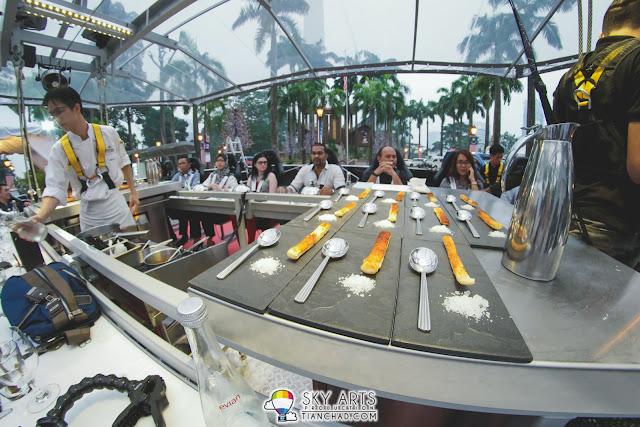 Total 22 seats available in this round table with chef preparing your meal in the middle of the sky