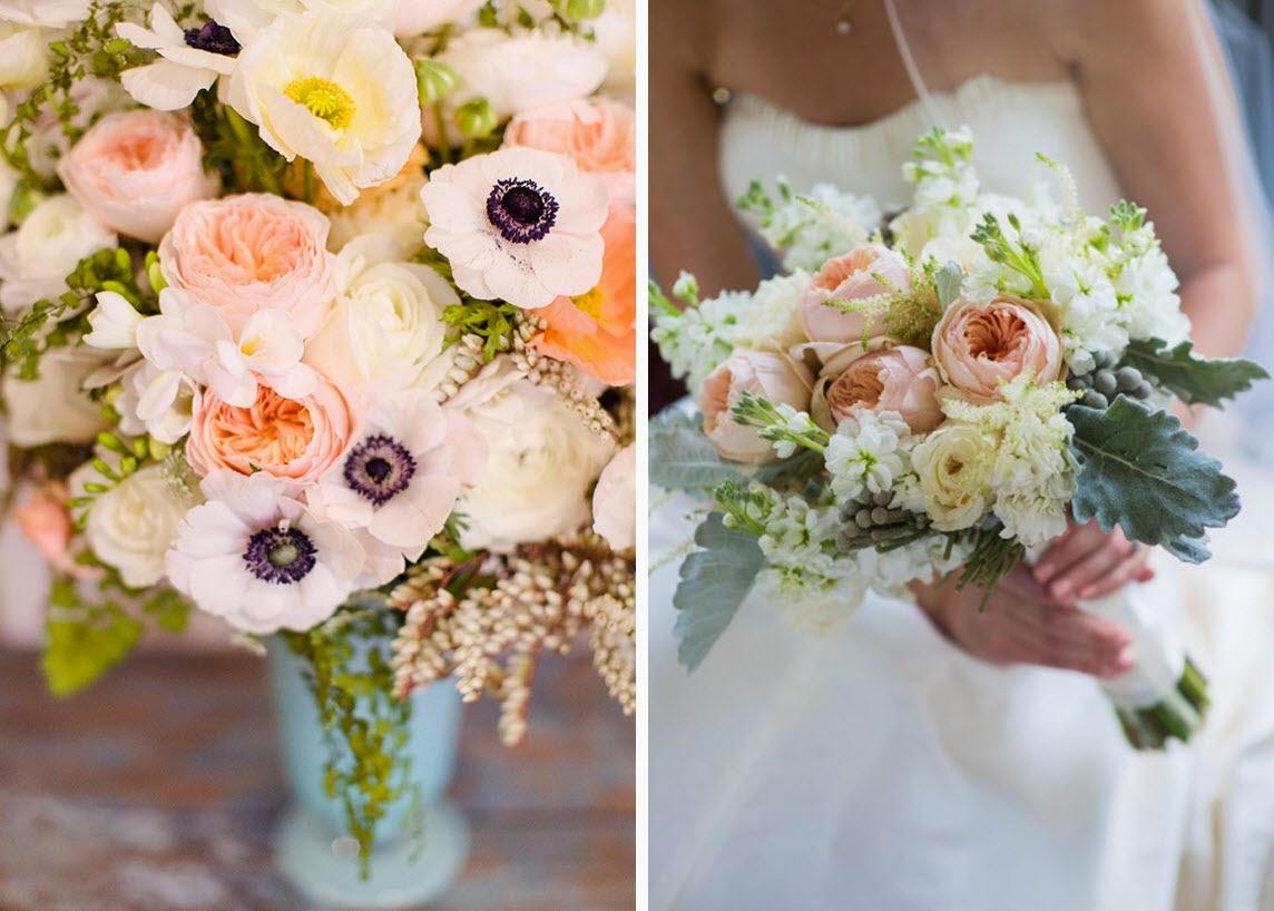 Wedding Flower Bouquet Inspiration for Peach, White, and Grey Color Scheme | lucismorsels.com