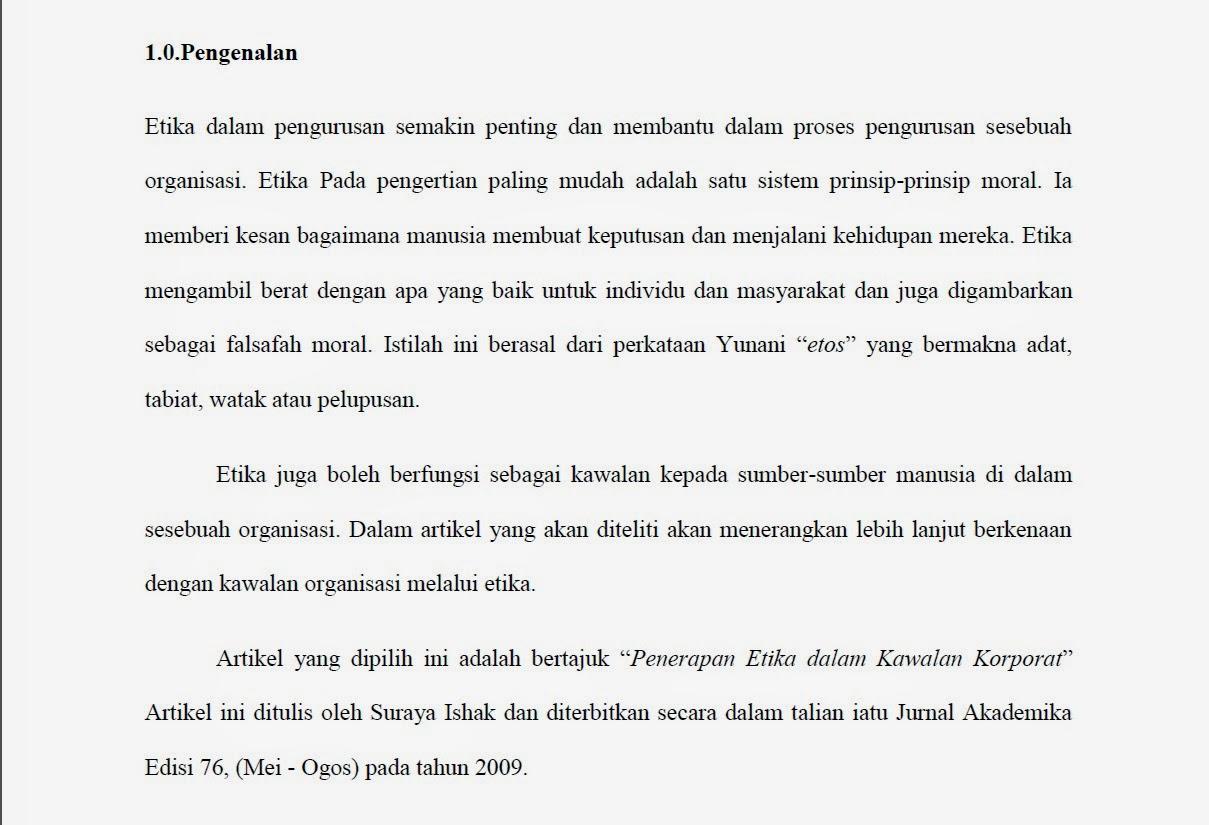 Pusat Rujukan Pjj Contoh Tugasan Ulasan Jurnal Etika Dalam