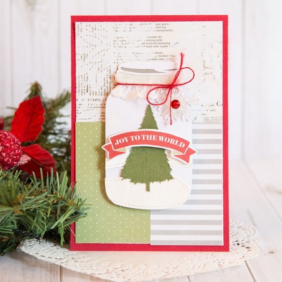 It's a Match: Joy to the World Mason Jar Card @bazzillbasics @createoften #bazzillbasics #card #christmas #masonjar #diy