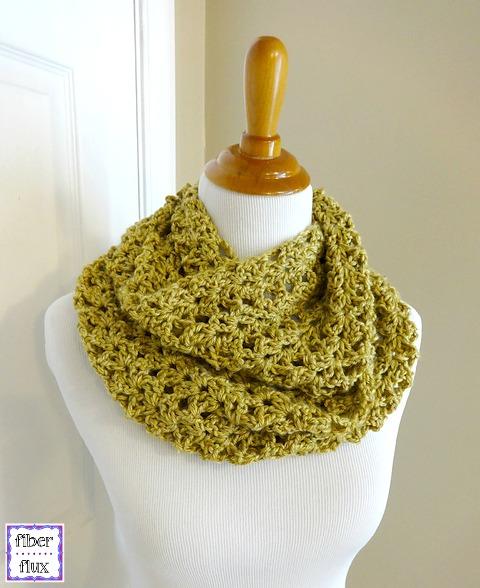Fiber Flux: Free Crochet Pattern...Gold Leaf Infinity Scarf!
