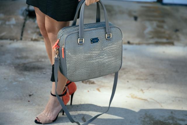 Paul's Boutique Hayley grey mock croc handbag.