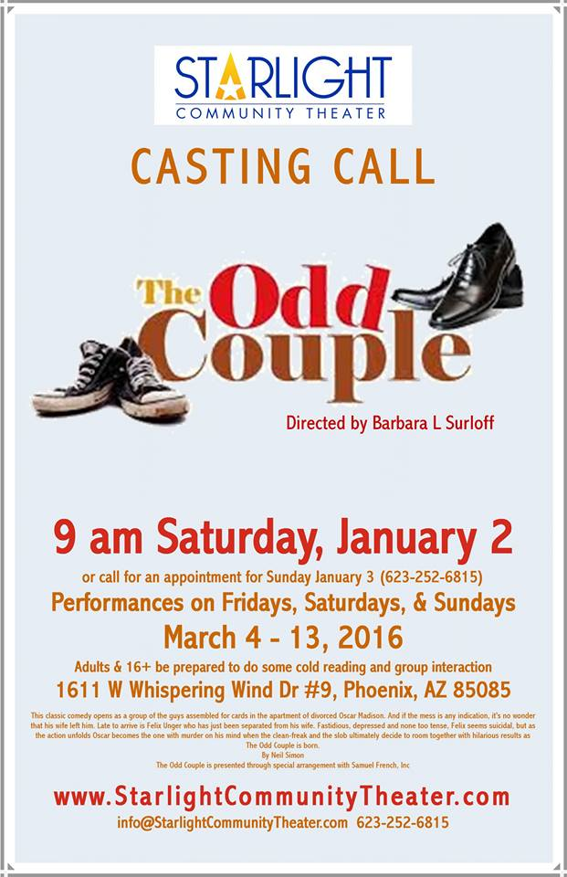 phx stages audition notice the odd couple starlight community