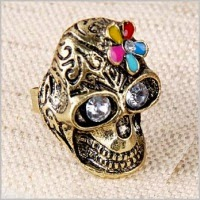 кольцо череп с цветком купить