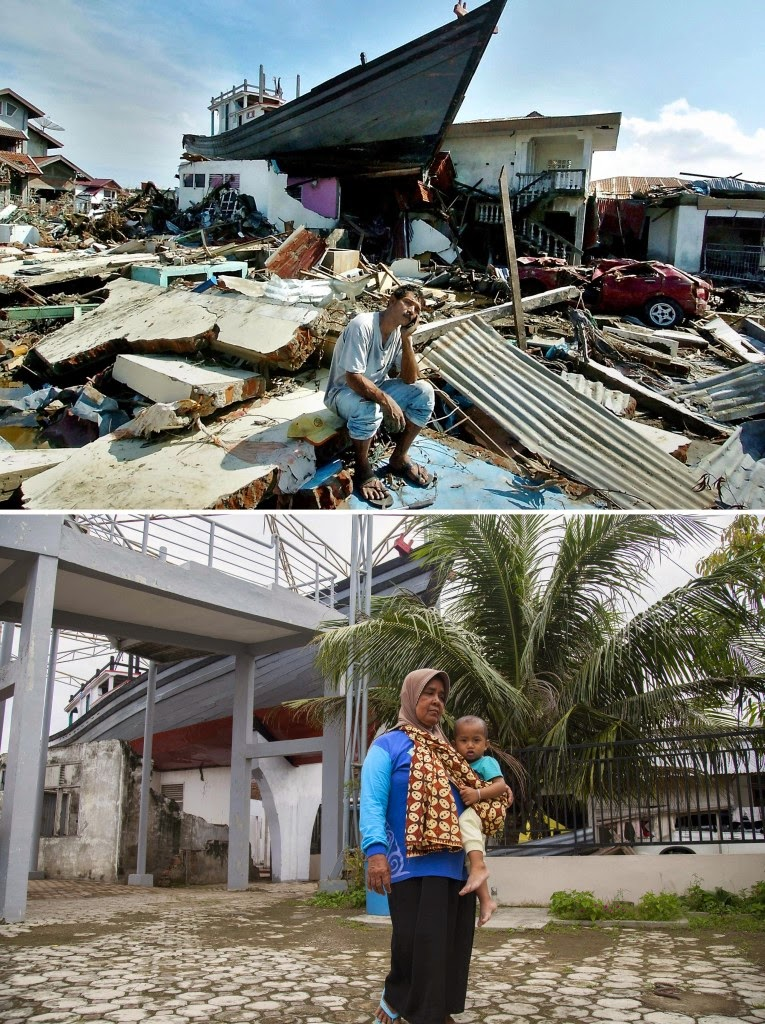 This combo shows a file photo, top, taken on Jan. 15, 2005 of a boat on top of a destroyed house in Banda Aceh, Aceh province, on Indonesia's Sumatra island where surrounding houses and buildings were heavily damaged and coastal villages wiped out in the aftermath of the massive Dec. 26, 2004 tsunami trigerred by an earthquake and woman walking past the same spot on Dec. 6, 2014. Indonesia will mark on Dec. 26, 2014 the 10th year anniversary of the deadly tsunami which killed more than 170,000 people in Aceh, and tens of thousands of others in other countries around the Indian Ocean. (AFP Photo/Jewel Samad (top) and Chaideer Mahyuddin (bottom))