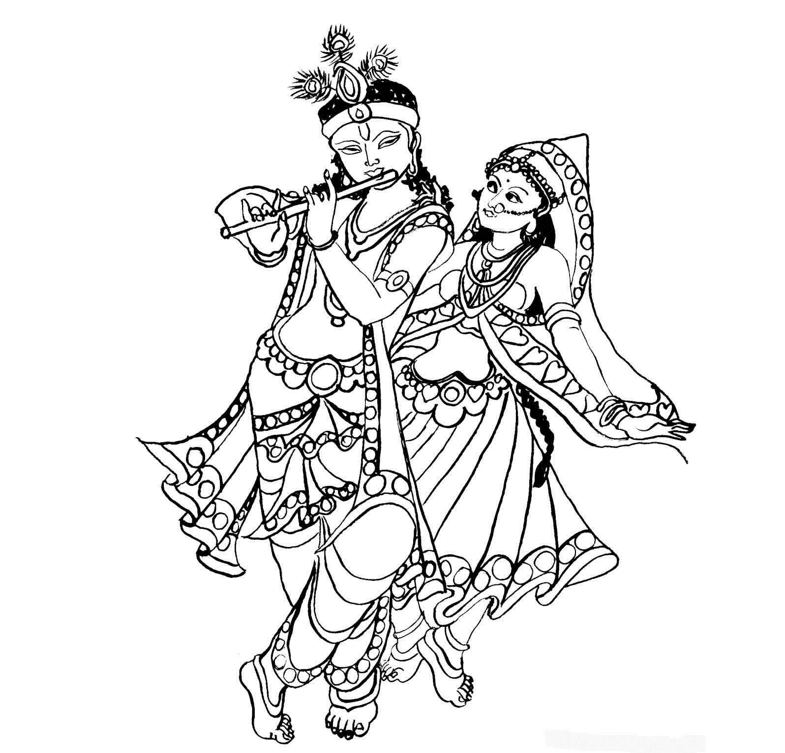 Colour drawing free wallpaper lord radha krishna coloring for Krishna coloring pages