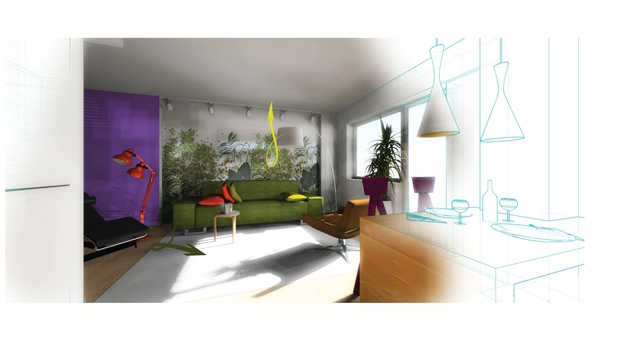 Drawing of new redesigned living room