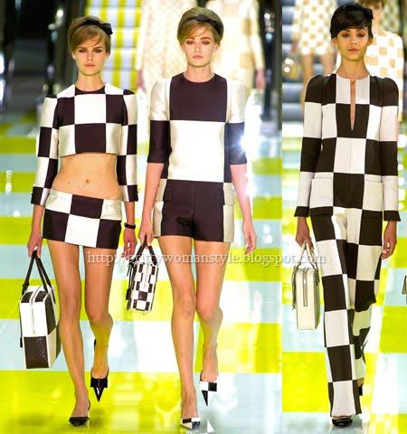 Модерни дамски дрехи пролет-лято 2013 Черно-Бяло Каре