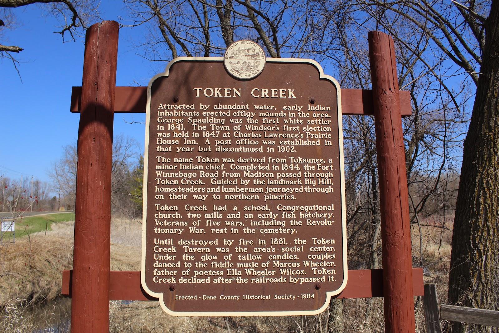 Wisconsin Historical Markers: Token Creek