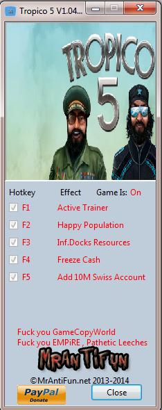 Tropico 5 V1.04 Trainer +4 MrAntiFun